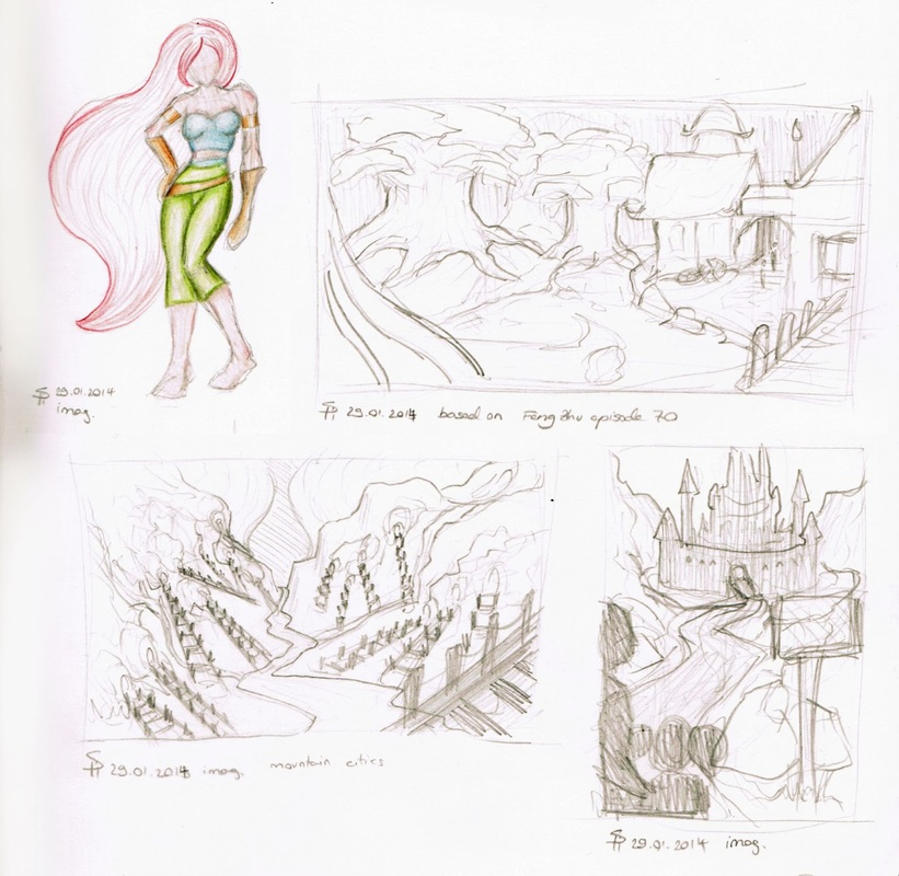 Cutout of Moleskine Sketchbook Page, Warrior Girl, Castle, Forest, Wood, City, River, Fantasy