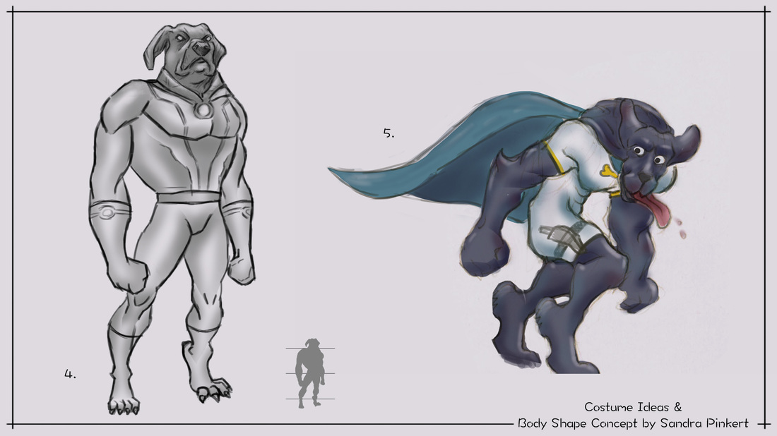 Super Hero Dog Design / Character Concept Cheet - 2D Game Art in Portfolio